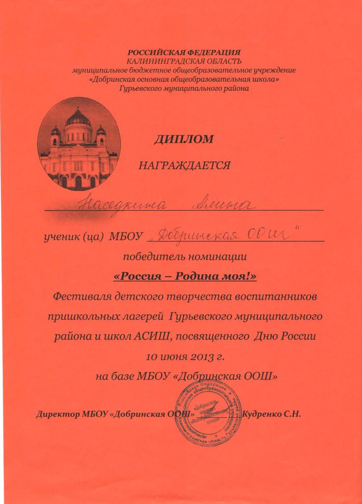 Диплом День России 2013