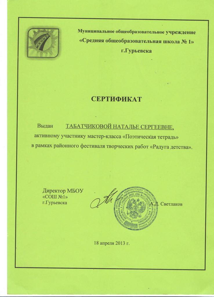 Мастер-класс Поэтическая тетрадь 2013