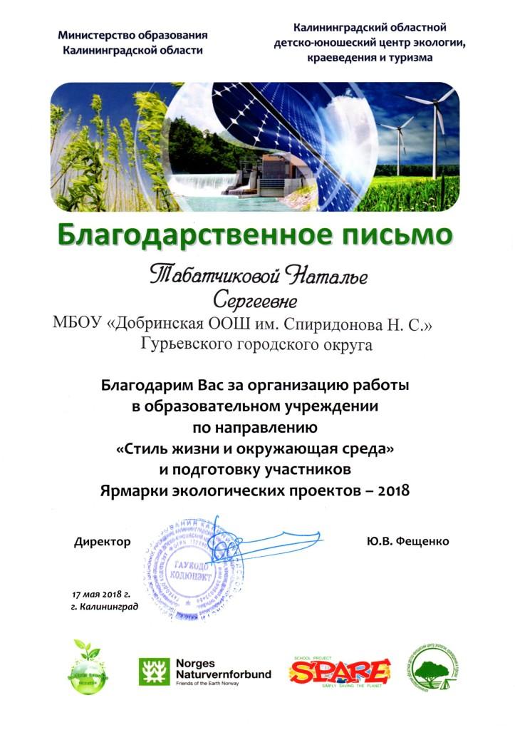 Благодарность учителю Ярмарка экологических проектов - 2018